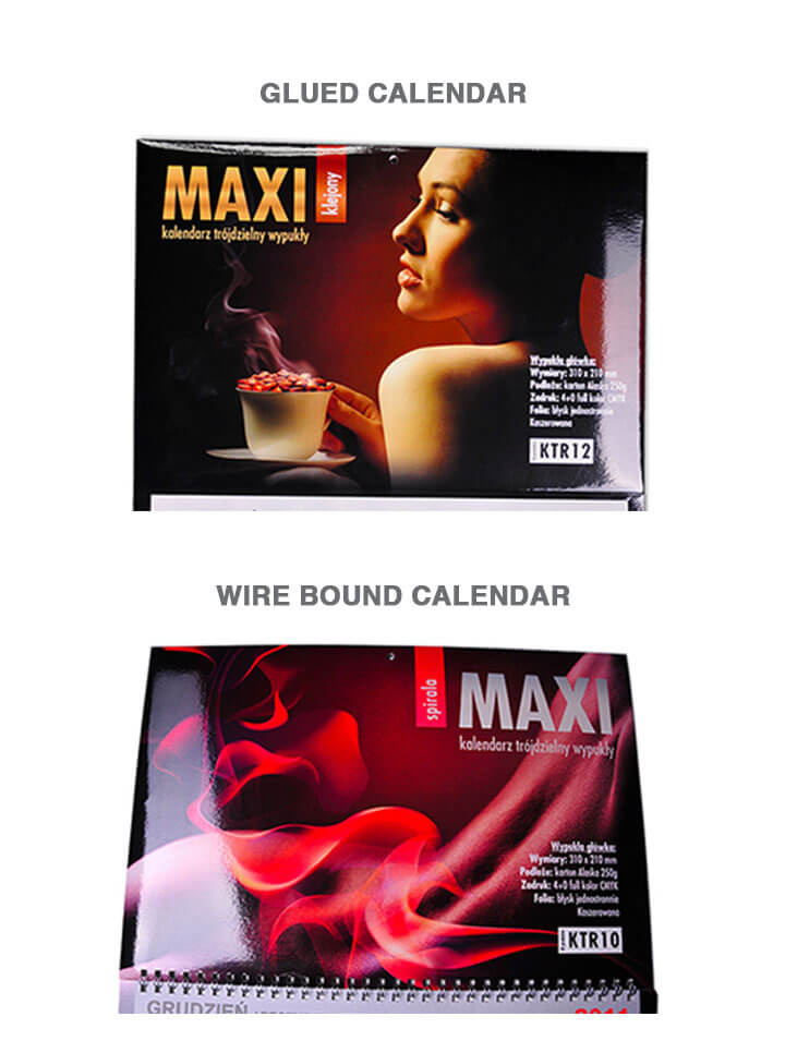 MAXI calendar - glued and wire bound