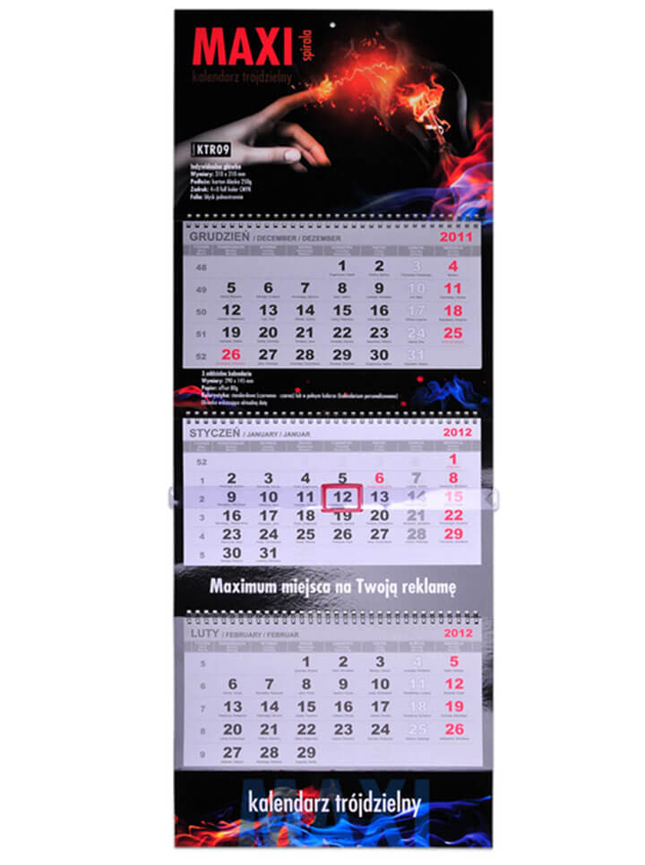 Sample wire bound MAXI calendar